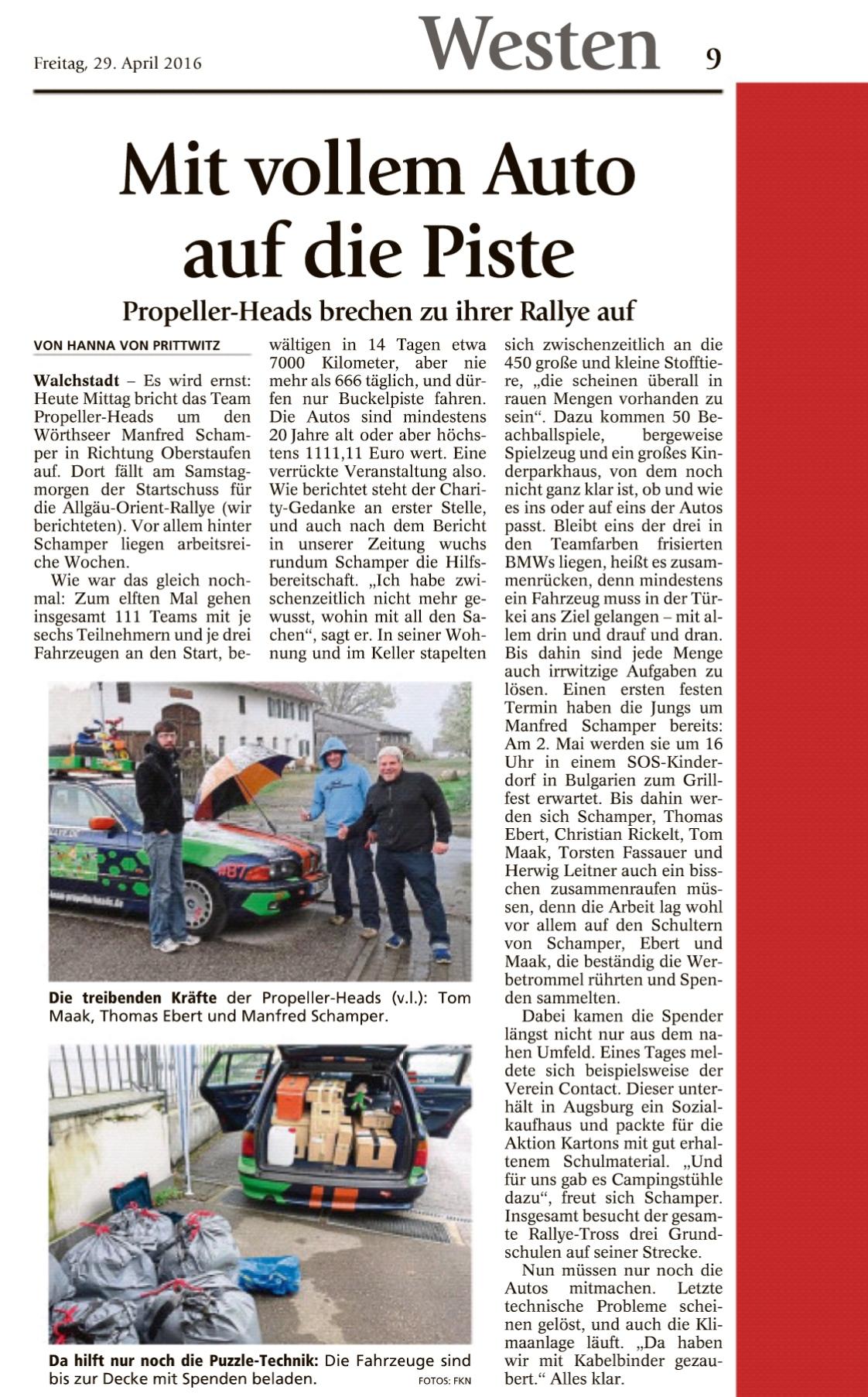 Team Propellerheads - Starnberger Merkur - Allgäu-Orient-Rallye 2016 - Manfred Schamper - Thomas Ebert - Tom Maak
